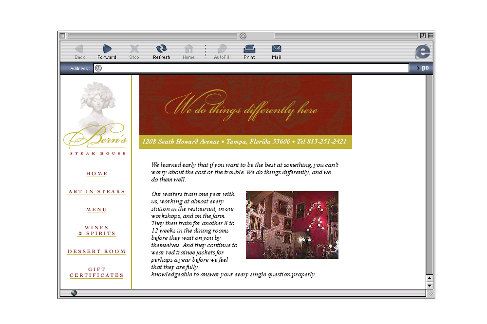 Bern's Steakhouse Website Design