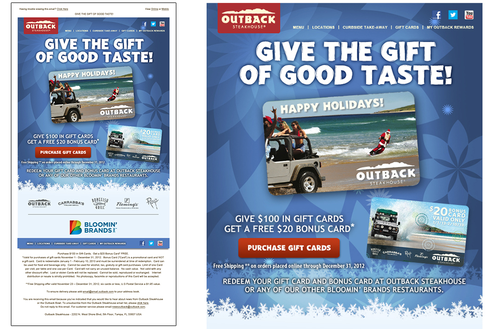 Outback Holiday Gift Card Email